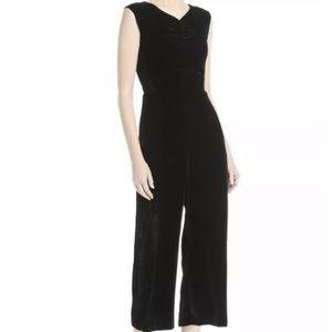 Rebecca Taylor Ruched Black Velvet Jumpsuit
